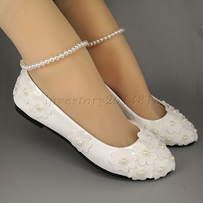 Wedding shoes Lace pearls white ankle trap Bridal flats low high heels pump size