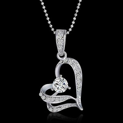 Charm Crystal Silver Heart Pendant Necklace Chain Wedding Bridal Jewellery Gift