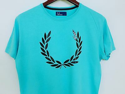 MJ1108 Men Fred Perry Blue Cotton Crew Neck Short Sleeves T-Shirt Size L