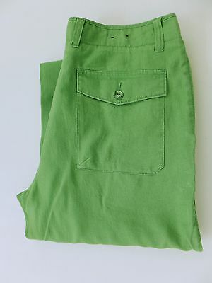 MJ1305 Men Gant Green Linen Straight Fit Trousers Size W34 L34