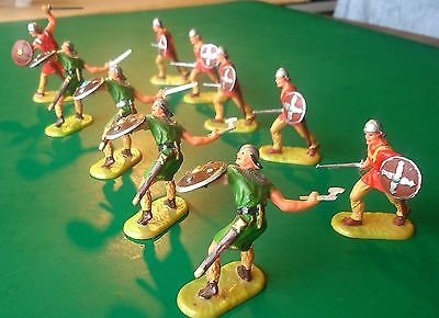 ELASTOLIN 40mm - Norman Swordsmen and Axemen (Various Poses). Job lot of 10