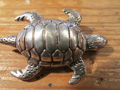sterling silver Turtle pin marked SG sterling Heavy 14g