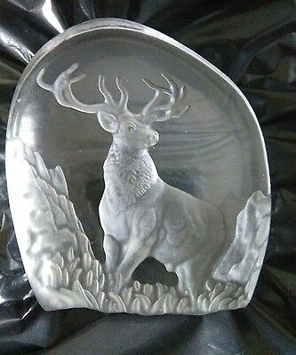 glass stag paperweight