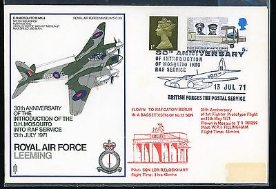WWFDC FDC 1971 RAF INTRODUCTION OF THE D.H Mosquito into RAF Service 1971 Flown