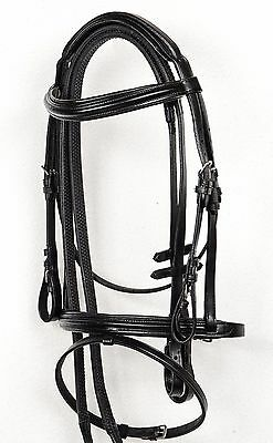 Cob Size  Black Quality Leather Comfort Bridle With Padding And Grip Reins.