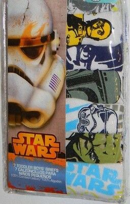 New Disney Star Wars Movie Space Toddler Boys White Briefs 7 Pk Underwear 2T 3T