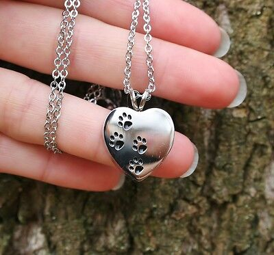 Cremation Jewelry Pendant Urn NECKLACE Holds Pet Ashes Dog Cat Paw Print Heart 4