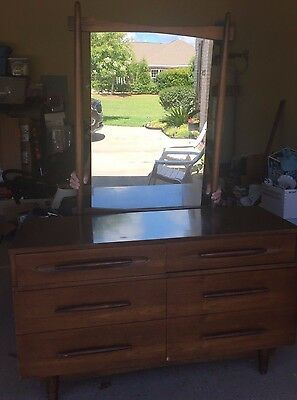 mid century modern dresser w/ mirror and matching chest