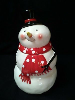 Snowman Cookie Jar with Black Hat & Red Poka Dot Scarf ~ Excellent Condition!