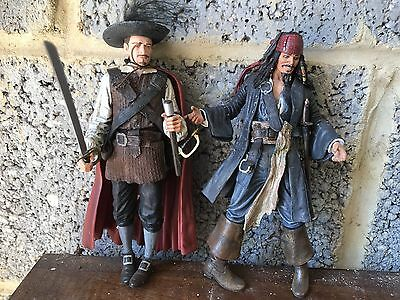 """2 Pirates Of The Caribbean  7"""" Inch Action Figure Jack Sparrow And Will Turner"""