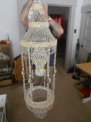 """Vintage Sea Shell Chandelier Large 60x16"""" Hanging Hand Made Great Condition"""