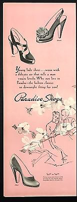 1948 Vintage Print Ad 1940s PARADISE SHOES Pink Illustration Foot Fashion Style