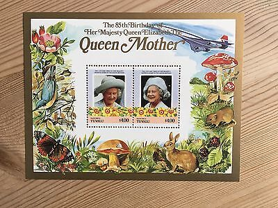 Tuvalu Nanumea Mnh 1985 Queen Mother 85Th Birthday Royalty Minisheet 01