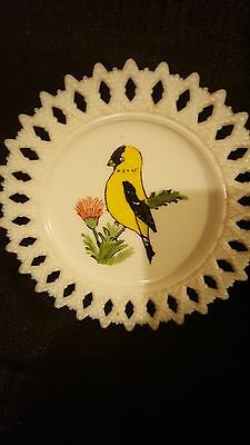 'LORNITA' HAND PAINTED MILK GLASS PLATE with Goldfinch and Pointed Lace