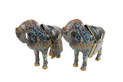 "Chinese Cloisonne Beautiful  10"" Horses sculptures  -a Pair"