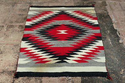 Navajo c,1930s Native American Hand Made Rug w/intricate White Red & Black