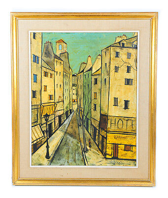 Charles Levier -1960s French Street Scene- Oil Painting On canvas