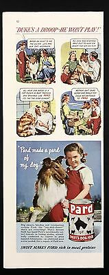 1948 Vintage Print Ad 1940s PARD Dog Food Family Collie
