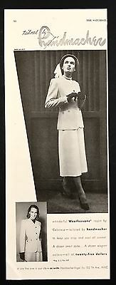 1948 Vintage Print Ad 1940s TAILORED BY HANDMACHER Woman's Fashion Style