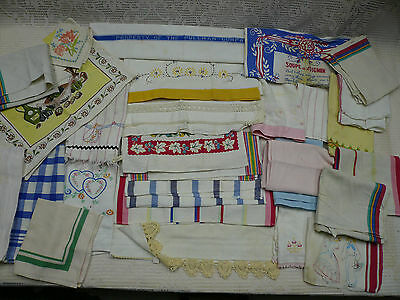 Vtg 28 Pc Cotton Cutter Dish Towel Lot Startex Cannon Kitchen Hand Stripe Waffle