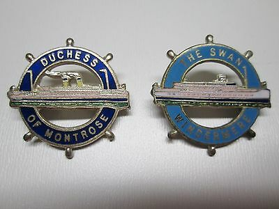 DUCHESS of MONTROSE & THE SWAN WINDERMERE - Wheel Badge - enamel ships