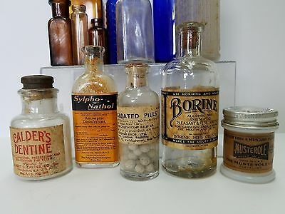 Antique Medicine Apothecary Bottles with labels Collection Lot of 13