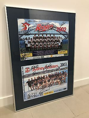 NRL Sydney Roosters 2002 Premiers & 2003 Signed Framed Team Prints