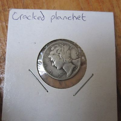 Mercury Head Dime 10c Silver Cracked Planchet Error USA American Coin