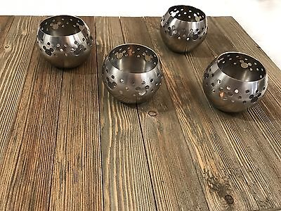 Set of 4 Silver Mickey Mouse Cute Candle Holders