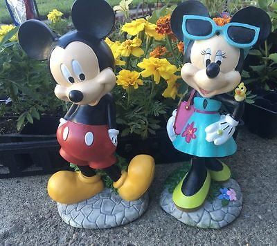 "Brand New 11"" Disney Mickey and Minnie Mouse Statue Figurines! Garden and Home D"