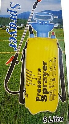 Garden Pressure Sprayer 8L Weed Water Pests Lawn Cleaning Fertiliser New Yellow