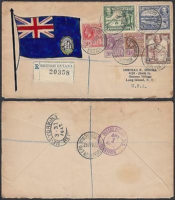 British Guiana 1942 - Registered cover and used stamps........ ..(G23722) DD-140