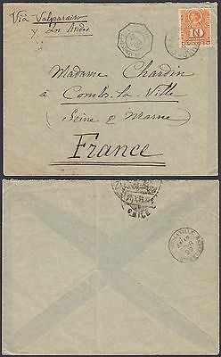 Chile 1899 - Cover obliterared Maritime-Buenos Aires to Franc....(G23809) DD-148