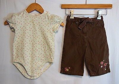 Janie and Jack Girls 2 Piece Outfit Floral Bodysuit & Brown Pants Size 12-18M
