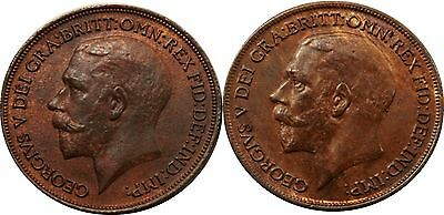 1919&1920 Bronze Penny George V [2] coins in this listing