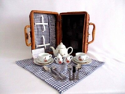 Reutter Porzellan Germany Child's Peter Rabbit Picnic Basket Tea Set