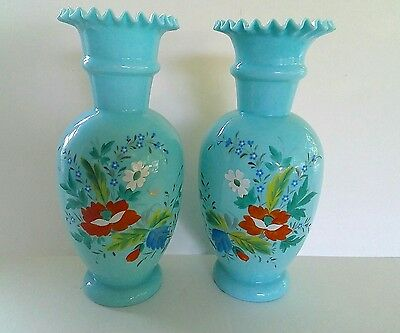 Vintage pair Bristol Glass Vases, blown with pontil mark, blue, painted flowers