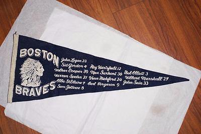 Rare 1951 Boston Braves Baseball Pennant with Player Names / Nice Condition!