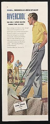 1948 Vintage Print Ad 1940s RIVERCOOL Men's Fashion Pants Shuffleboard