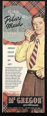 1948 Vintage Print Ad 1940s Mcgregor Polar Mesh Short Men's Fashion Style