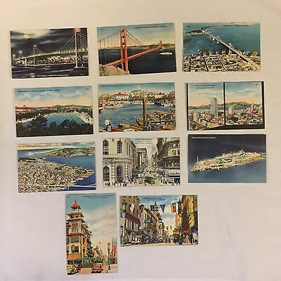 Vintage Lot Of 11 Colour Picture Post Cards San Francisco USA UNUSED 1940's