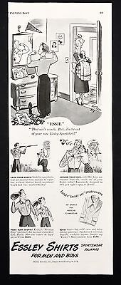 1948 Vintage Print Ad 1940s ESSLEY SHIRTS Men's Fashion Cartoon Illustration