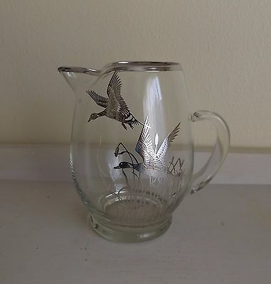 Silver Overlay Flying Ducks Pitcher