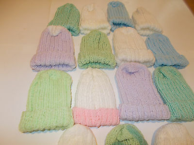 Hand Knitted x12 Jackets and 15 Hats for Prem/Newborn Baby