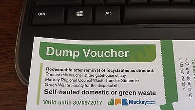 Three Mackay Dump Tip Garbage Rubbish Waste Vouchers Coupons 2017