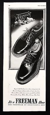1948 Vintage Print Ad 1940s FREEMAN Shoes Foot Fashion Men's B&W Illustration