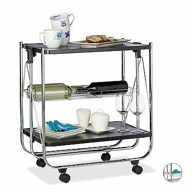 Serving Cart, Folding, 2 Shelves, Metal, Kitchen Trolley, White and Black
