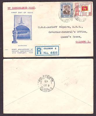 """Ceylon """"late"""" fdc Comm. Anniv. Independence 04-02-1949"""
