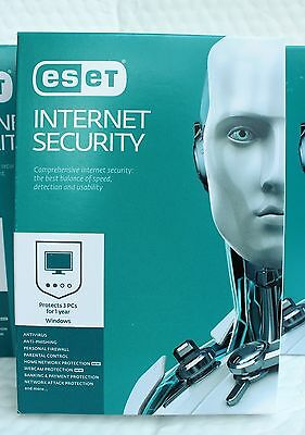 ESET Internet Security 2017 - 3 Pcs 1 Yr Antivirus & Security Windows 10 NEW✔✔