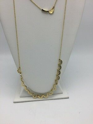 $88 Ivanka Trump gold tone 10K gold plated double-row scalloped  necklace IT237